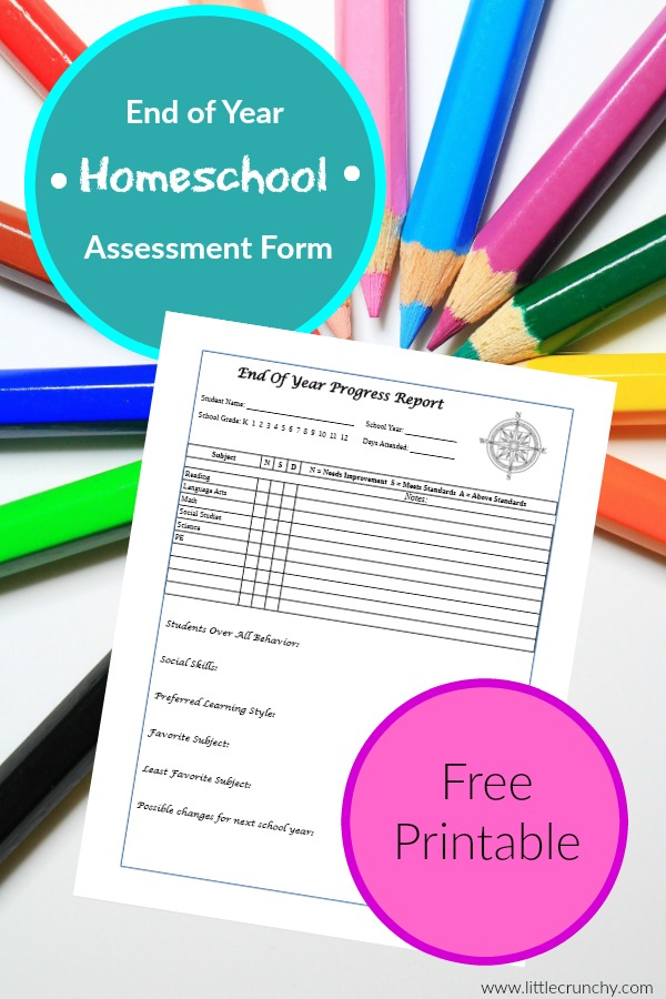 photo about Homeschool Progress Report Printable known as Homeschool Close of Yr Homeschool essment kind write-up