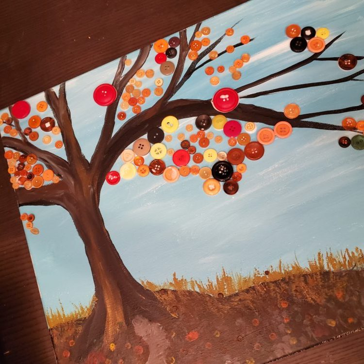 Fall Crafting with Kids - Button Tree - A Little CrunchyA Little Crunchy